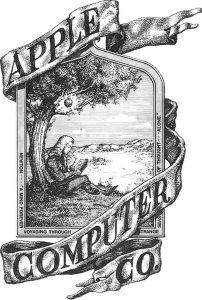 Este es el primer logo de Apple. Mismo que recrea la caída de la manzana en la cabeza de Isaac Newton. Imagen: Apple Computers Co.